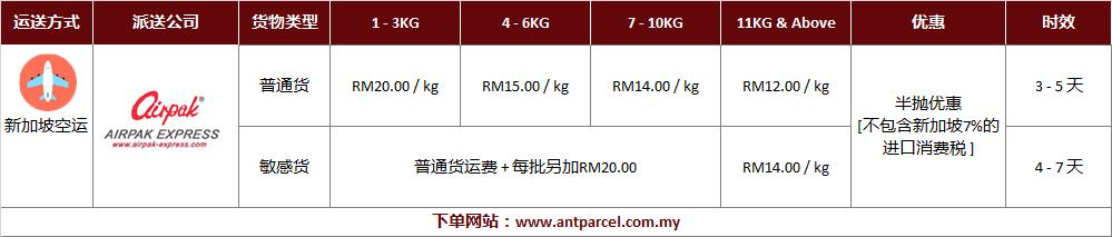 中国到新加坡空运