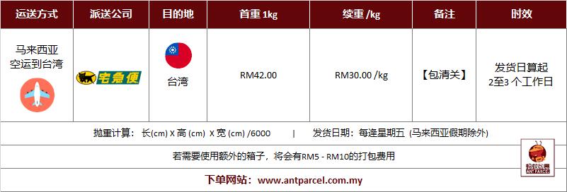 快递出口到台湾运费
