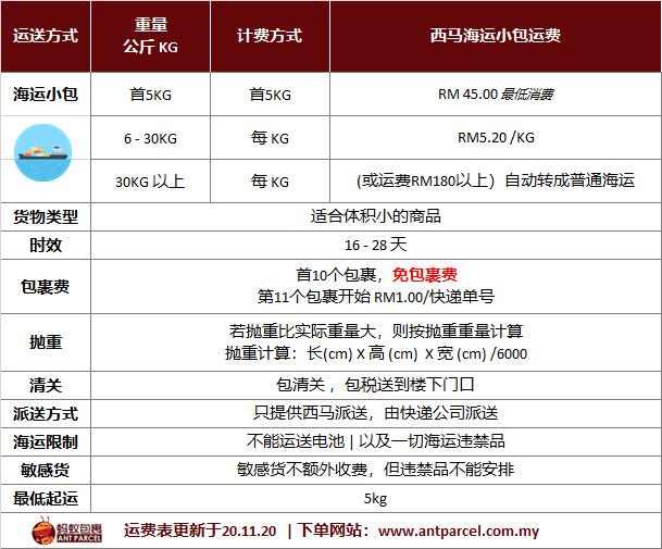 中国海运小包 运费